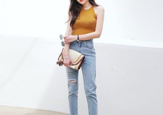 cách phối đồ với quần jean lưng cao