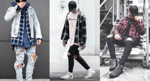 quần jean rách mặc với áo gì
