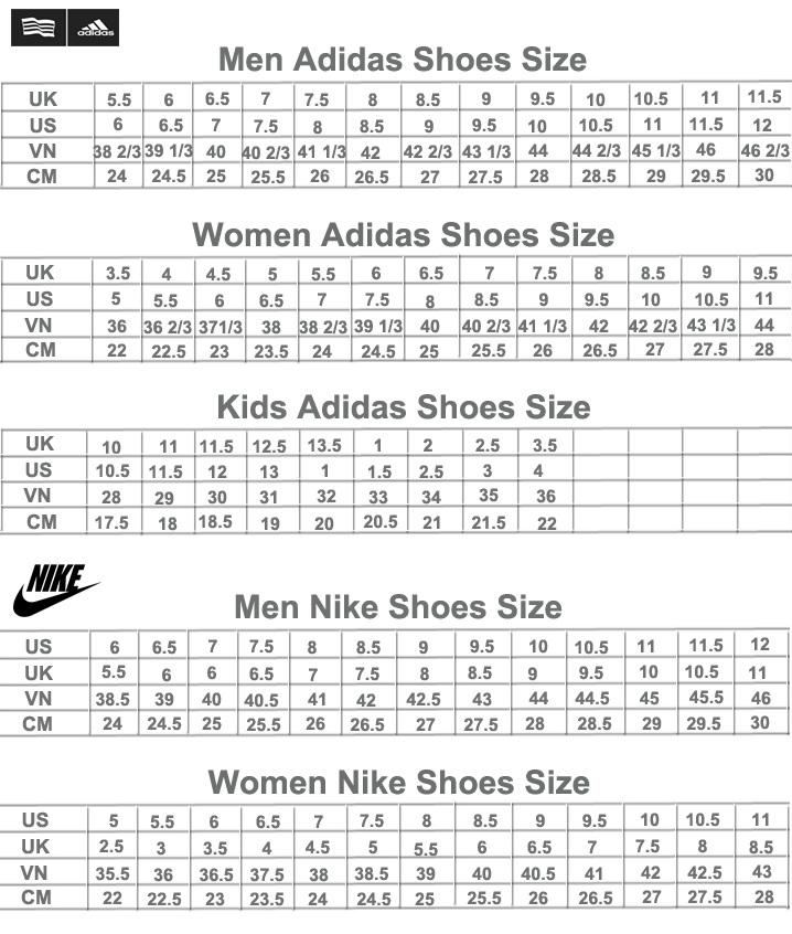 size giay Adidas, giay Nike