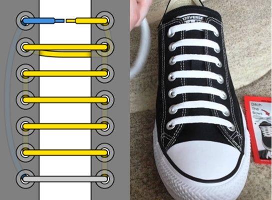 cách luồn dây giày