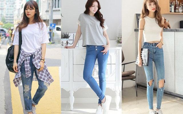 cách phối quần jean với giày