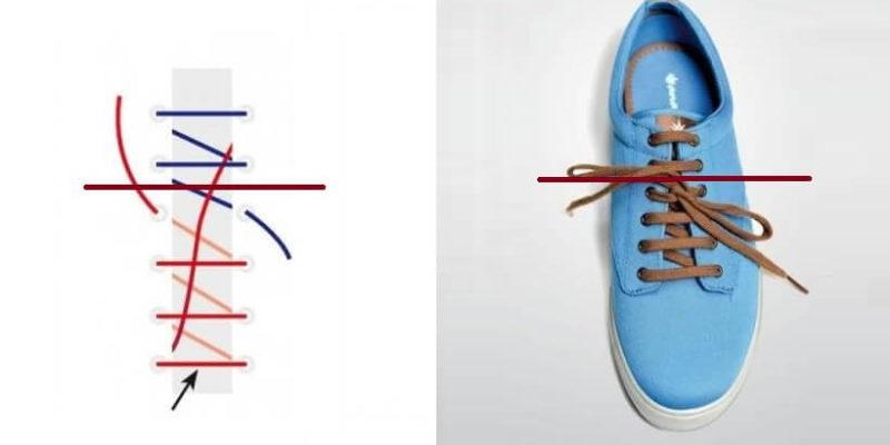 cách thắt dây giày 4 lỗ