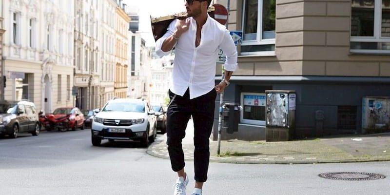 kết hợp giày thể thao với quần áo nam